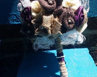 Burlap and Lace Bride Bouquet