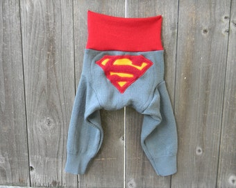 MEDIUM Upcycled Merino Wool Longies Soaker Cover Diaper Cover With Added Doubler Steel Blue/ Red With Superman  Applique 6-12M  Kidsgogreen