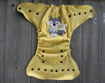 Upcycled Cashmere/ Wool  Nappy Cover Diaper Wrap Cloth Diaper Cover One Size Fits Most Yellow With A Wolf Applique/ Black & White Pattern