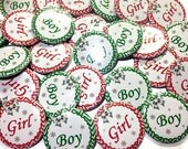 "Christmas Gender Reveal Buttons 1.5"" Pin Back Buttons Christmas Chevron with Silver Bows, Boy or Girl Reveal, Baby Reveal, Xmas Reveal Pins"