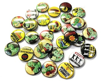 """Zombie Pin Up, 1"""", 1.5"""", Buttons, Zombie Buttons, Zombie Pins, Pin Up Girl, Zombies, Zombie Badge, Zombie Party Favor, Zombie Decor, Pin Ups"""