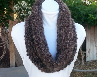 Taupe Brown & Black Large Crochet Cowl, Short Infinity Scarf, Wide Winter OOAK Soft Fuzzy Lightweight Wool Acrylic Mohair..Ready to Ship