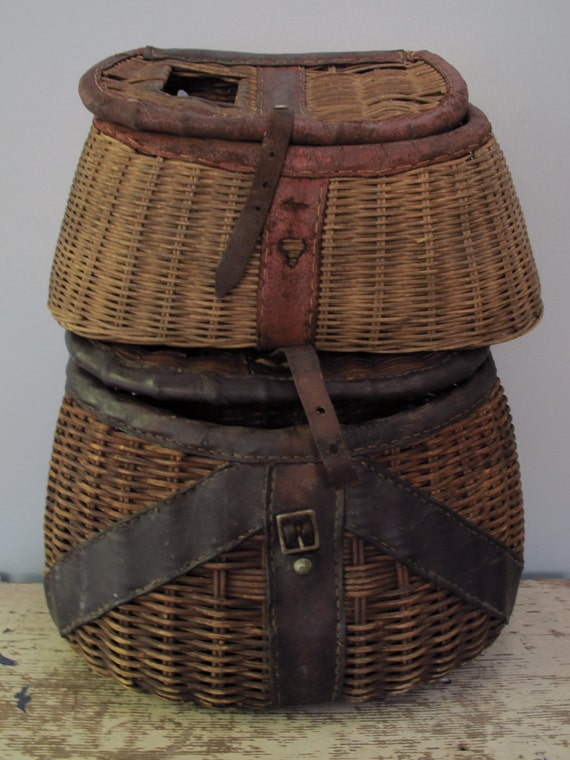 Fishing creels pair of antique fish bait storage baskets small for Fishing creel basket