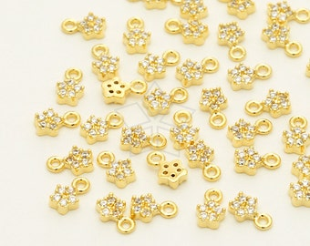 PD-1255-GD / 2 Pcs - Tiny Mini CZ Charm Pendant (Star), Small Star Pendant, !6K Gold Plated over ...