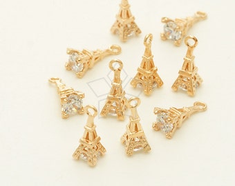 PD-1355-RG / 2 Pcs - Tiny Mini CZ Eiffel Tower Charms, Rose Gold Plated over Brass / 4mm x 11mm