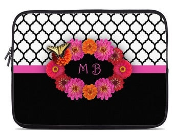 Personalized Laptop Sleeve, monogram laptop case, floral laptop cover, to fit 10, 13, 15, 17 inch, computer sleeve, netbook case