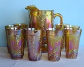 Vintage Carnival Glass Pitcher and 8 Tumblers - Indiana Glass Iridescent Carnival Glass - Harvest Grape