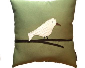 Bird Pillow from Repurposed Designer Fabrics