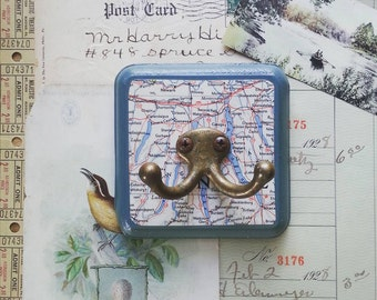 Map Wall Hook, Wall Hanger Made From a Vintage Map of The Finger Lakes, New York, Key Hook, Travel Inspired Home Decor