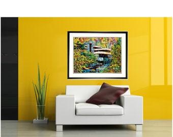 Fallingwater House Print, Frank Lloyd Wright architecture, Famous houses, waterfall wall art, Johno Prascak