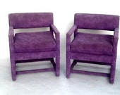 Modern Milo Baughman Parsons Armchairs/ Upholstered Square Arm