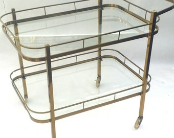 Pick Up SALE Vintage Brass Bar Cart /375.00 for pick up ARRANGE your own shipping ONLY