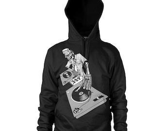 Graphic Villain Hip Hop DJ Turntable  Hoodie  - Free Shipping!