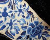 x Bell Pull or Banner, Blue on Taupe, Fabulous Embroidery (FF030216-01)