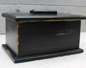 Wooden Box with Lid, Keepsake Box in Distressed Black