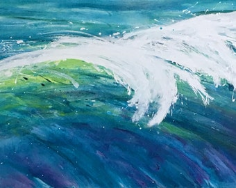 SALE large wave painting, colorful wave painting of cresting wave, 24 in x 48in acrylic on canvas