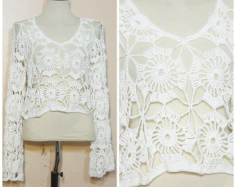White Crochet Sweater Small Medium Open Knit Hippie Boho 90s Cropped