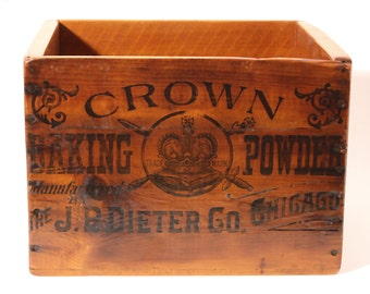 Vintage Crown Baking Powder Shipping Box - circa early 1900's