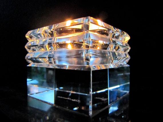 80s Crystal Votive Holder Vintage Cube Candleholder