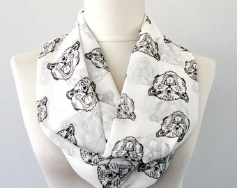 Leopard print infinity scarf black and white animal print scarf leopard face scarf cat print scarf lightweight scarf safari gift for her
