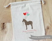 HORSE with HEART balloons - Personalized VALENTINE Favor Bags - Set of 10