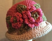 Young Lady Flowered Hat.....Pink and Ivory Crocheted Delight