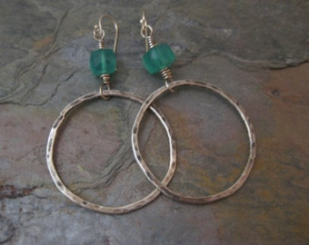 Hammered Sterling Silver Hoops with Green Onyx