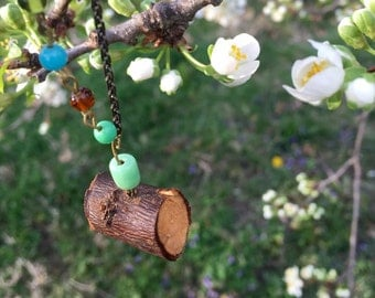 Scented Plumwood Necklace with blue beads