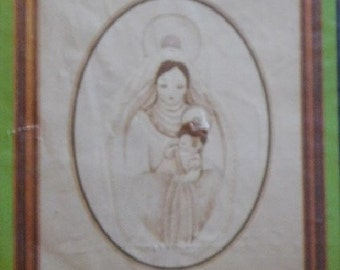 1984 Creative Expressions Mother & Child Madonna Jesus Christ Candlewick Candlewicking Soft Sculpture Craft Kit, New/Old in Pkg
