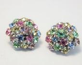 Vintage crystal earrings.  Pastel coloured earrings.  Clip on earrings