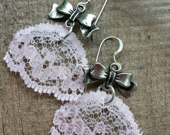 Vintage lace earrings, upcycled recycled repurposed, pink lace