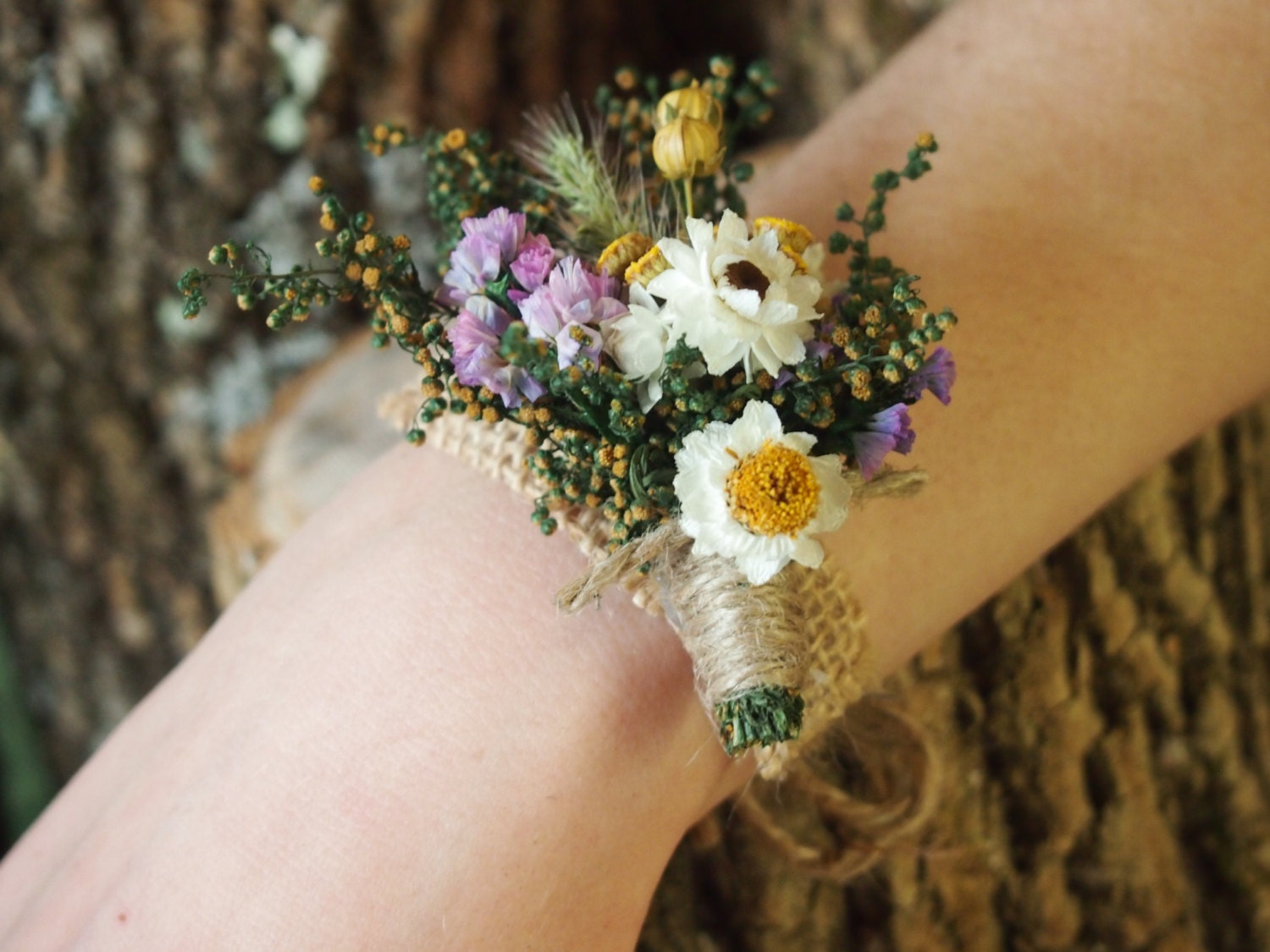 Wrist Corsage: Wrist CORSAGE Dried Flowers Simple And Dainty Perfect