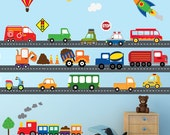 Cars Construction Airplanes Train Transportation Decal, REUSABLE Decals Non-toxic Fabric Wall Decals for Kids, A222