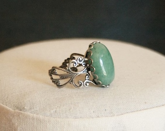 Green Aventurine Ring Green Stone Ring Antiqued Filigree Ring Green Ring Red Jasper Ring Jasper Gemstone Ring Red Stone Ring
