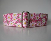 1.5 Inch Dog Collars, Pink Dog Tag Collar, Pink Dog Collar, Daisy Dog Collar, Wide Dog Collar, Greyhound Tag Collar, Custom Dog Collar