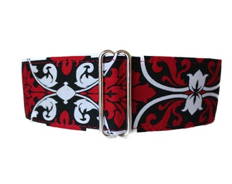 Red Martingale Dog Collar, Greyhound Martingale Collar, Red Black and White Dog Collar, Damask, Sighthound Collar, Red Dog Collar