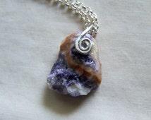 Violet Flame Morado Opal Raw Gemstone Pendant