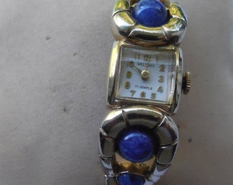 Vintage Welsbro Wristwatch - Art Glass Jeweled Band As Found Parts Repair Steampunk