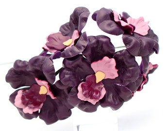 Leather Flower Purple Orchid Wedding 3rd Anniversary Gift Third Anniversary Long Stem Leather Flower Valentine's Day Mother's Day