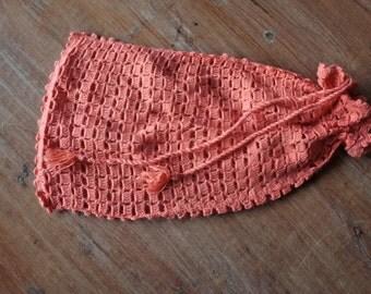 Vintage 1970s Pink Knit Bag // 70s 80s Drawstring Market Bag