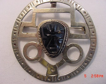 Vintage Sterling Silver Black Onyx Mexican Aztec God  Brooch Or Pendant  16 - 420