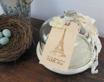Glass Cloche, Cloche with Cream Wood Base and Eiffel Tower Tag
