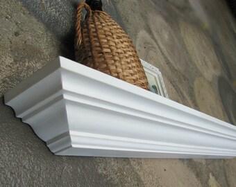 White Crown Molding Shelf,  Wood Wall Shelf, White Shelves
