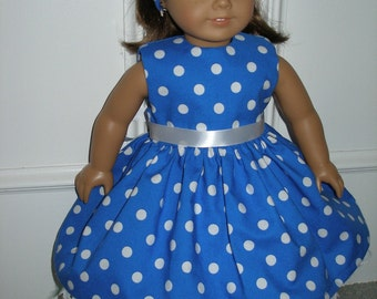Dress for 18 inch dolls - blue and white polka dot dress with headband