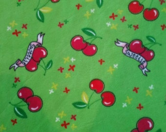 Fleece fabric with cherries sweetie cherry print fruit sewing material to sew by the yard crafting quilters sewer BTY, cherry fabric to sew
