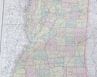 1891 Original Color Atlas Map-Art-122 years Old-City Street View-Mississippi