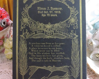 Antique Memorial Remembrance Card-Hiram Spencer