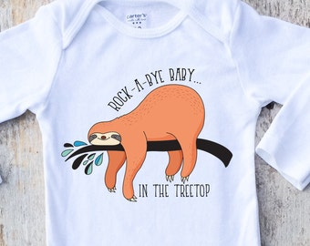 Baby Boy Shirt Onesies®, Baby Boy Sloth Onesie, Sloth Shirt, Sleepy Sloth Shirt, Rock-A-Bye Baby Shirt, Animal Boy Clothing, Hipster Sloth