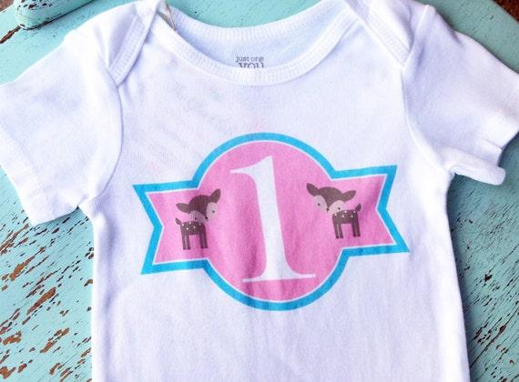 NEW Birthday Onesies®, Girl Birthday, 1 One Year Old Onesie, Baby Deer Onesie, Baby Girl Clothes, Graphic Onesie, Woodland Onesie, Singlet