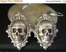 CLEAROUT SALE 40% OFF Vintage sterling silver plated brass large skull ornate earrings